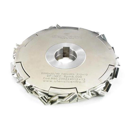 Teste antischeggia regolabili per squadratrici o bordatrici (Assiale 45°) utensil centro